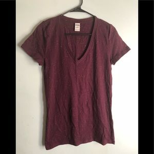 Maroon Victoria's Secret PINK v neck